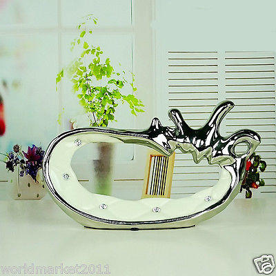 Simplicity Abstract White+Silver Ceramic Home Accessories Decoration 2 Pcs B