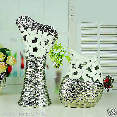 Modern White+Silver Hollow Out Ceramic Home Accessories Decoration Vases 2 Pcs