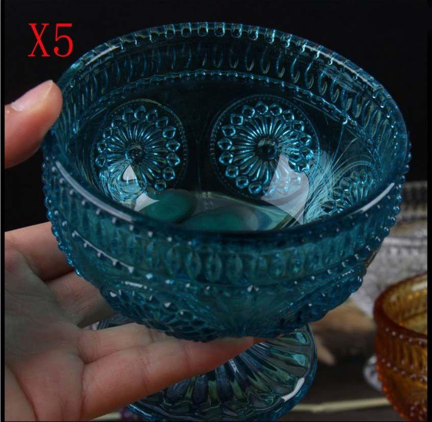 New 5X Capacity 200ML Height 95MM Retro Blue Cocktail Wine Glass/Glassware %