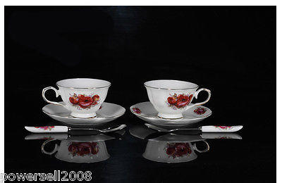 2012 New European Fashion Lovers A Pair 6 P Pink Rose Ceramic Coffee Cup Set