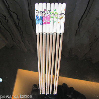 Long 23cm 4 Colors Happy Family Ceramic Stainless Steel Tableware Chopsticks Set