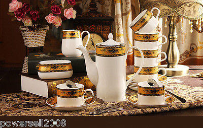 European Style Simple High-Grade Ceramics Coffee Cup/Tea Pot 15 Pieces Set E-5