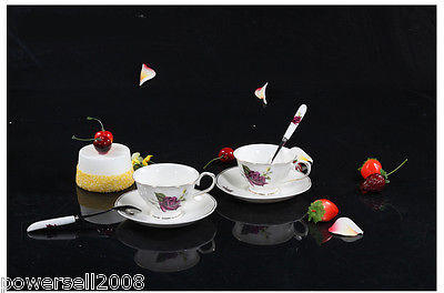 2012 New European Fashion Lovers A Pair 6 Purple Rose Ceramic Coffee Cup Set
