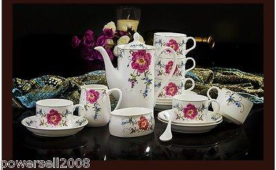 New European Style Noble Fashion Ceramics Coffee Cup/Tea Pot 15 Pieces Set H-6