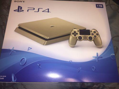 New PS4 Slim Gold 1TB Sony PlayStation 4 System Console Limited Edition 1 TB Nib