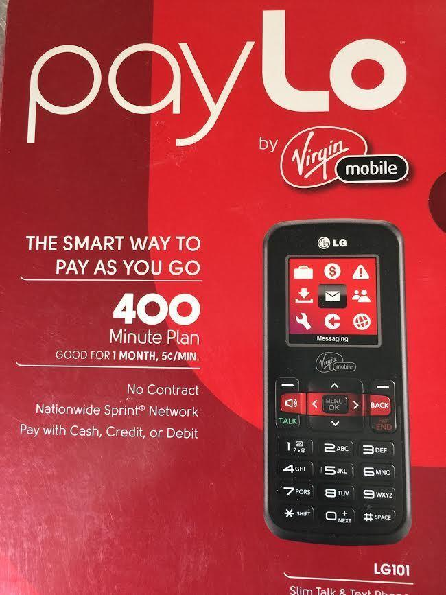 LG 101 - Black (Virgin Mobile) New in Box PayLo Pay as you GO!