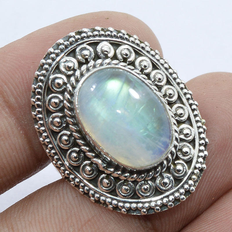 Solid 925 Sterling Silver Natural Rainbow Moonstone Jewelry ...