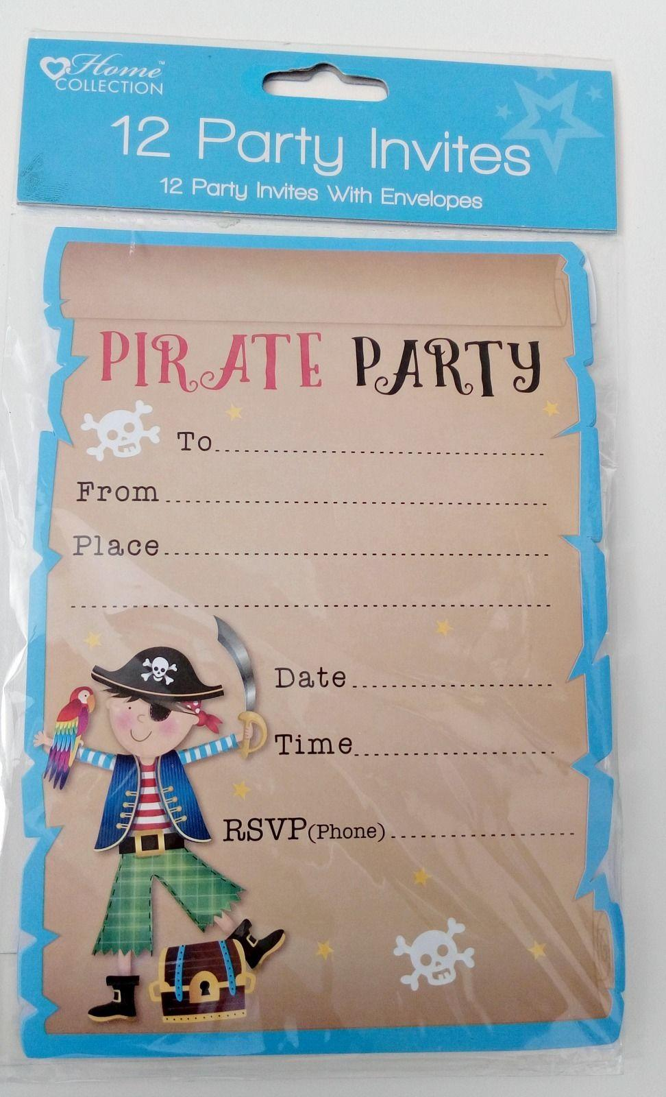 12x invitations PIRATE PARTY INVITE CARDS birthday boy kids SKULL – Kids Pirate Party Invitations