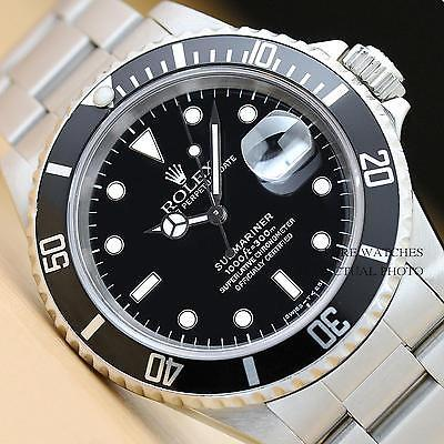 MENS ROLEX SUBMARINER OYSTER PERPETUAL DATE STAINLESS STEEL WATCH 16610
