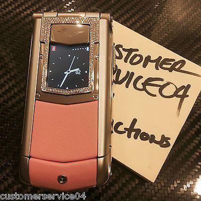 Genuine Vertu Ayxta Polished Ceramic PINK Leather Diamonds Super RARE Brand NEW