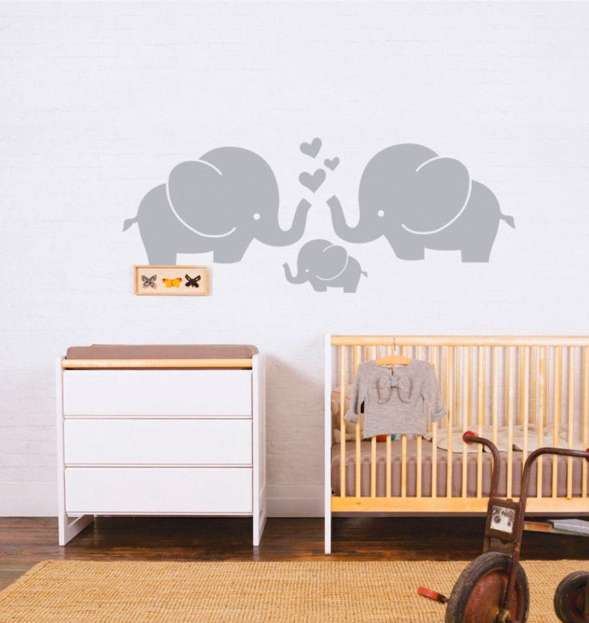 Vinyl Elephant Family With Hearts Wall Decals Baby Nursery Decor Kids Room