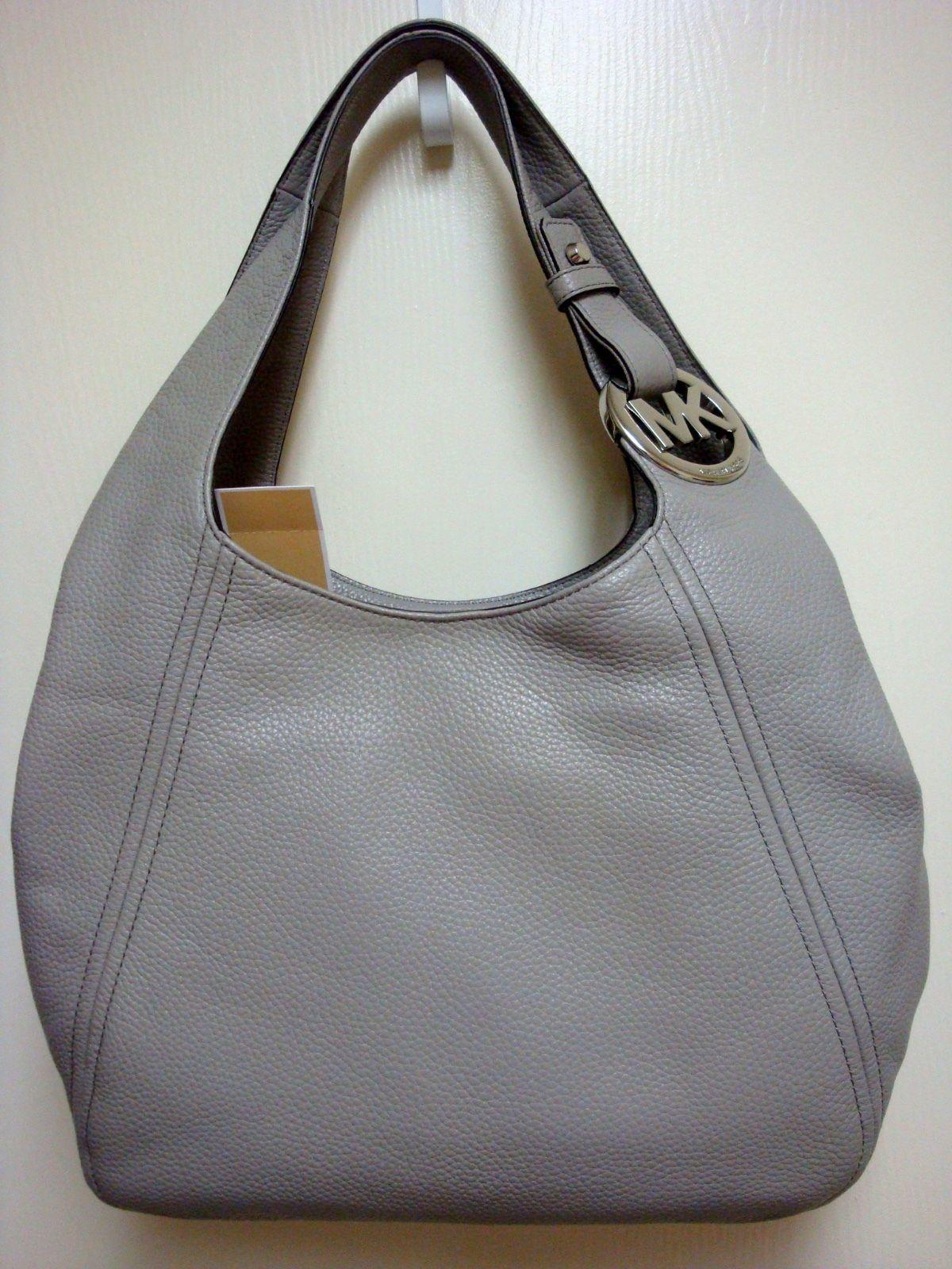 de167d2ba1 low price new michael kors fulton pearl grey gray leather purse or shoulder  tote 5a27c c1a11
