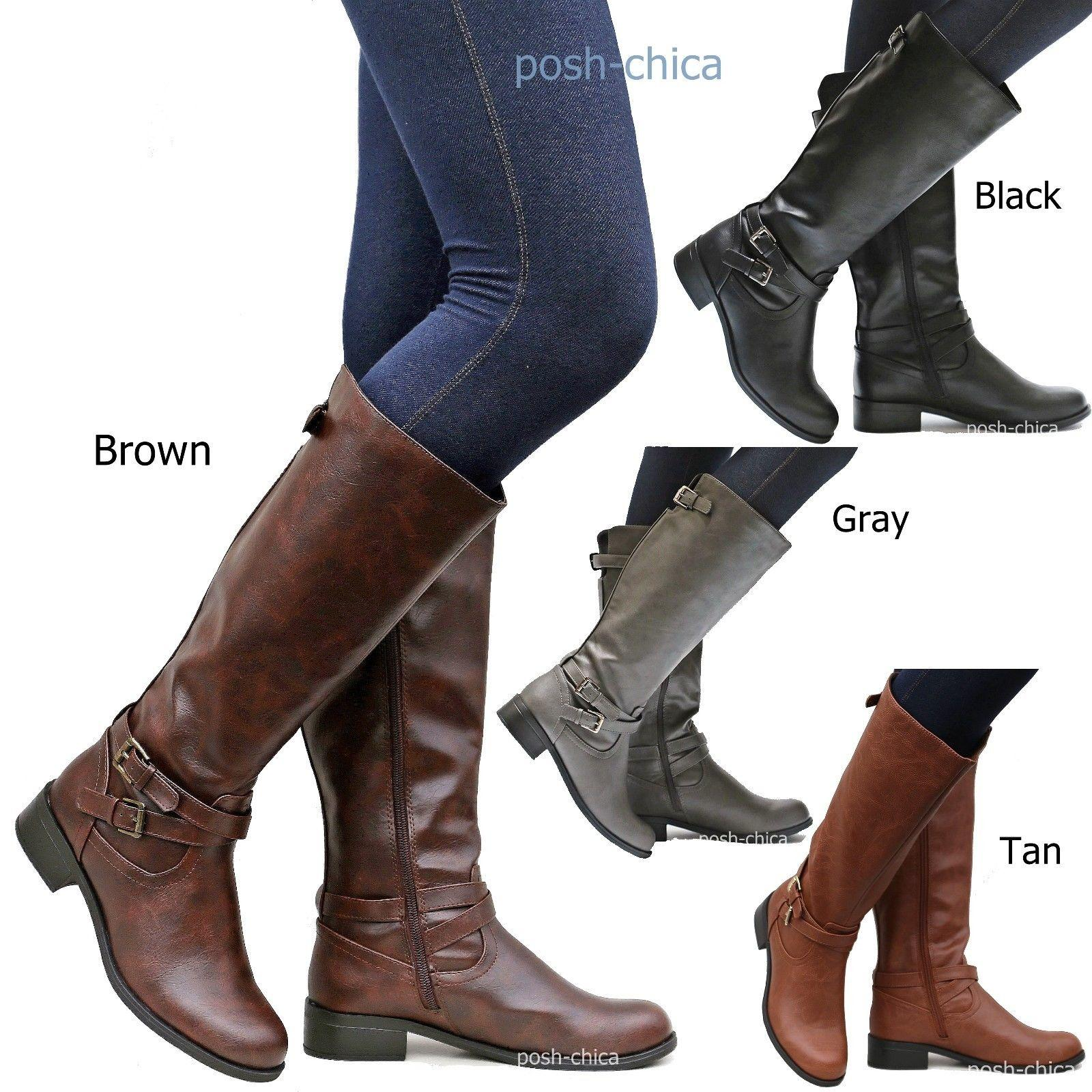 New Women SBioTan Black Gray Brown Buckle Riding Knee High Boots size 5.5  to 10 0494bcf4fe