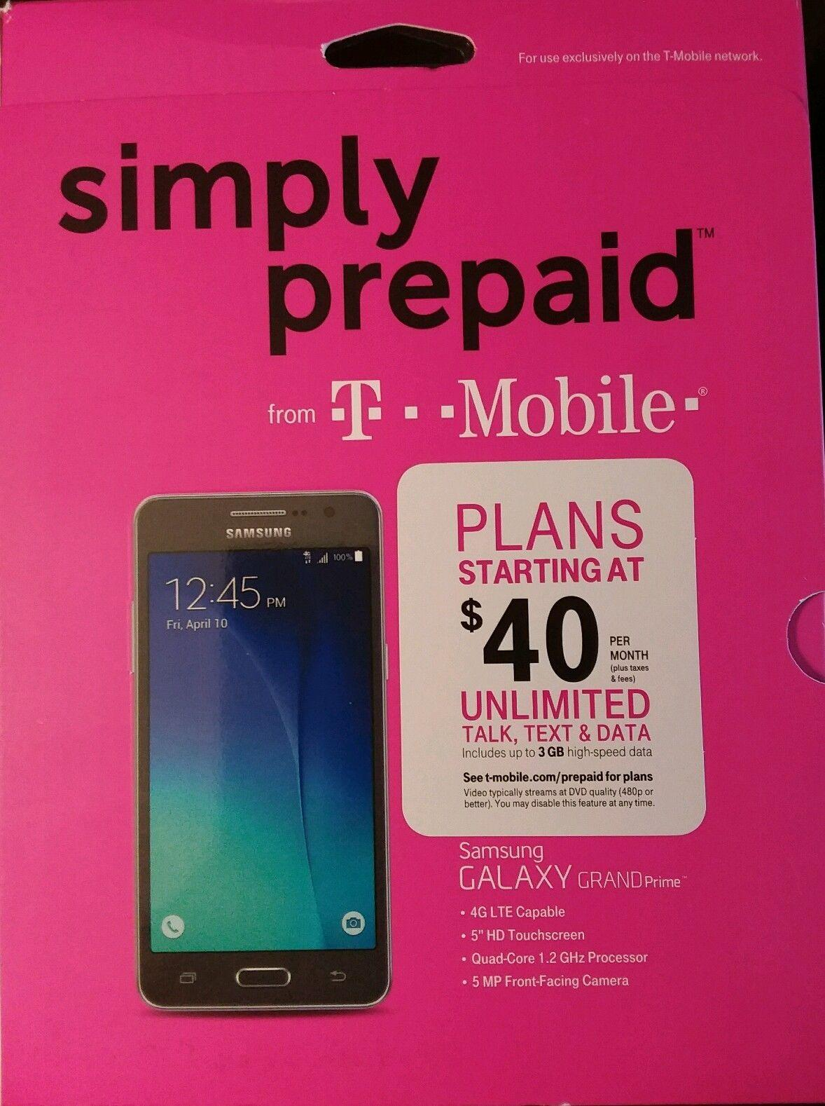 NEW - T-Mobile Prepaid Samsung Galaxy Grand Prime - Included SIM Card