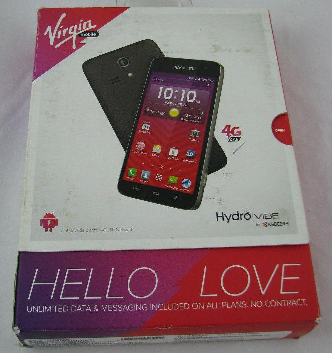 Kyocera Hydro Vibe Virgin Mobile Prepaid - Black. New. Sealed. Free Shipping.
