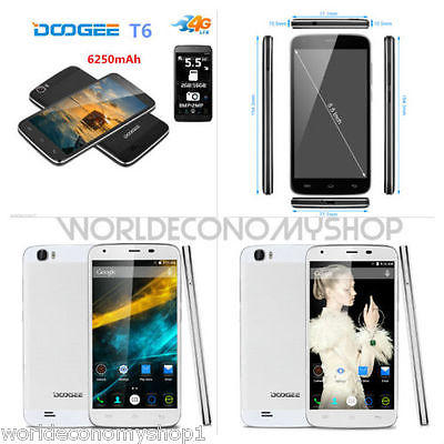 "DOOGEE T6 5.5"" 4G-Lte Cellulare Android 5.1 Smartphone 2GB+16GB OTG GPS 6250mAh"