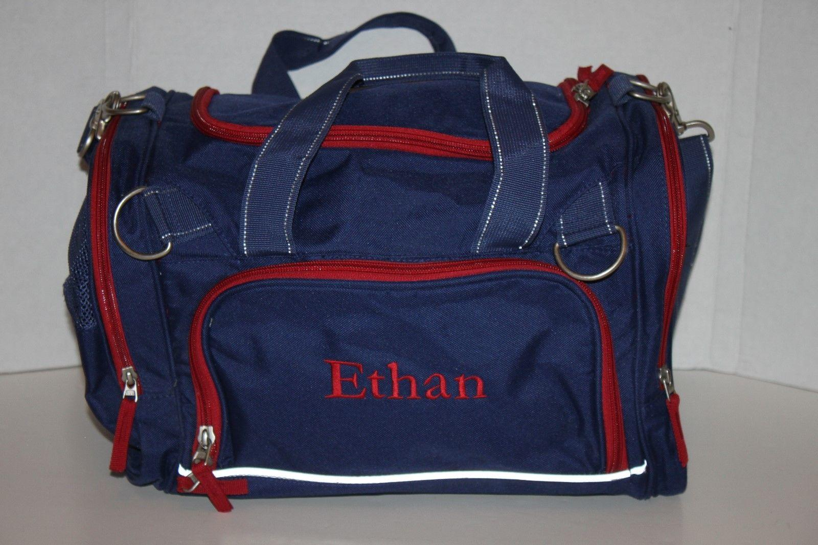 Pottery Barn Kids Mckenzie Duffle Travel Gym Bag Blue Red