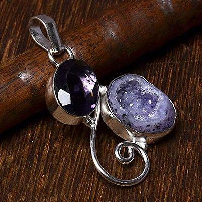 Purple Amethyst Quartz Sterling Silver Overlay 5 Grams Earring 1.75 Handmade Jewelry Pretty
