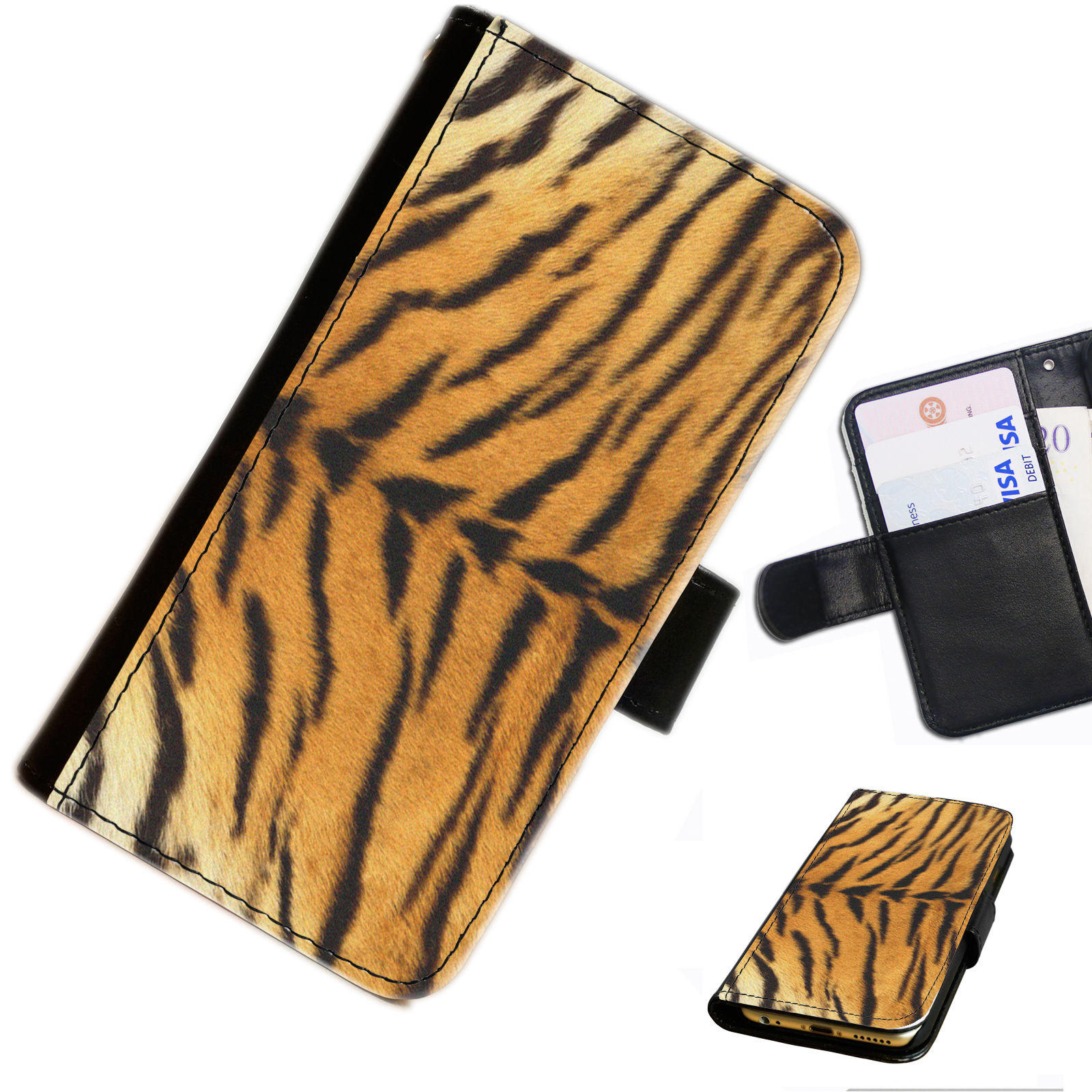 SKIN 14 TIGER PRINT PRINTED LEATHER WALLET/FLIP CASE COVER FOR MOBILE PHONE